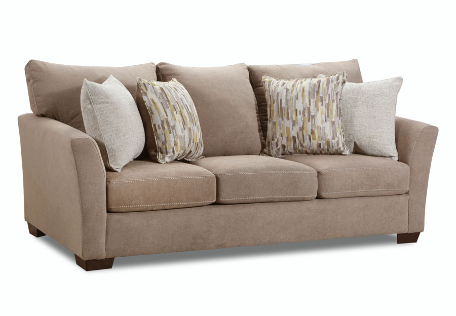 Simmons Upholstery Pacific Mocha Sofa With Highway Citrine and Cruze Coconut Pillows