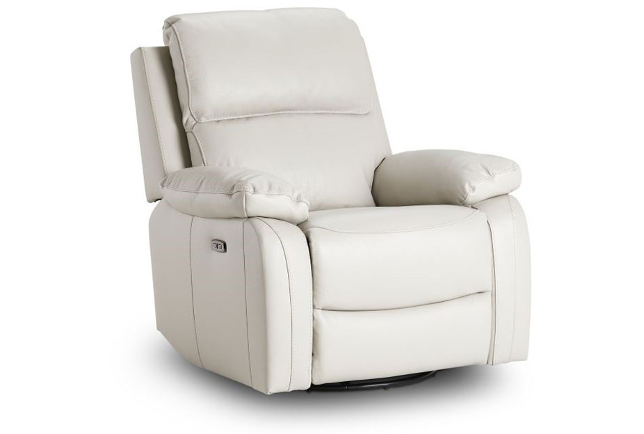 Kuka Carter Ivory Dual Power Recliner With Swivel Glider Leather Match