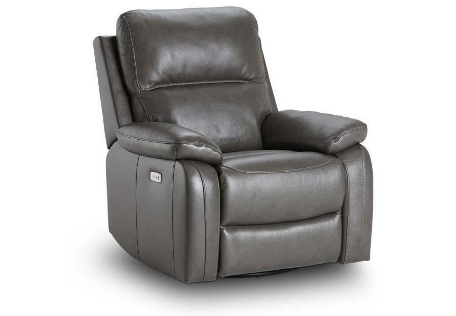 Kuka Carter Charcoal Dual Power Recliner With Swivel Glider Leather Match