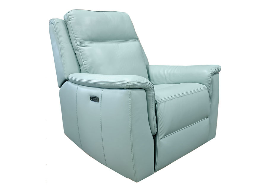 Kuka Blake Lt. Blue Dual Power Recliner With Swivel Glider Leather Match