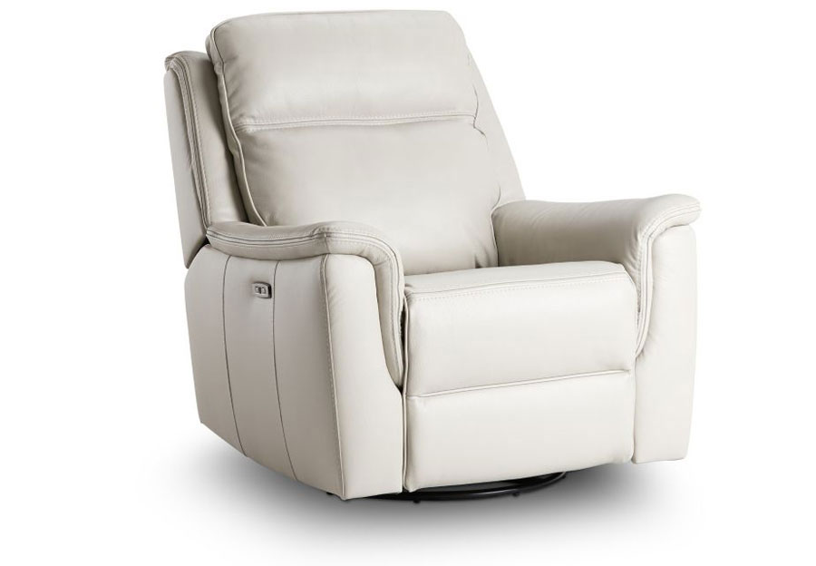 Kuka Blake Ivory Dual Power Recliner With Swivel Glider Leather Match