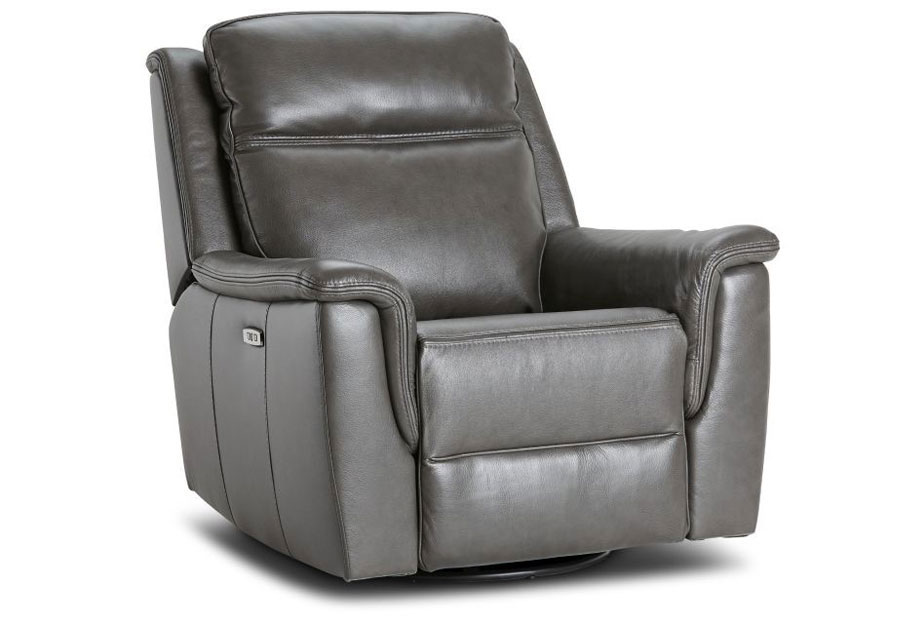 Kuka Blake Charcoal Dual Power Recliner With Swivel Glider Leather Match