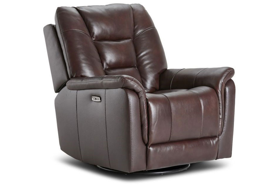 Kuka Axel Brown Dual Power Recliner With Swivel Glider Leather Match