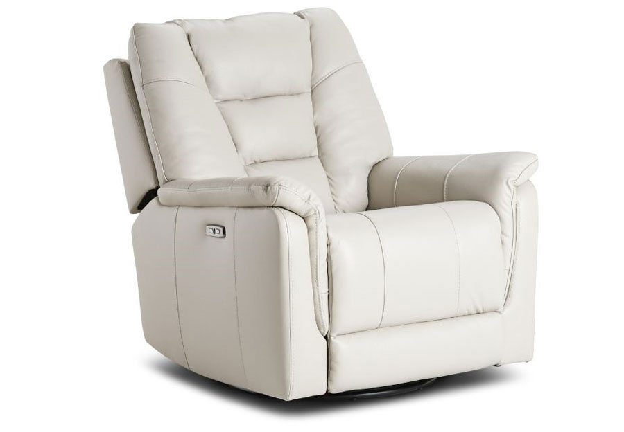 Kuka Axel Ivory Dual Power Recliner With Swivel Glider Leather Match