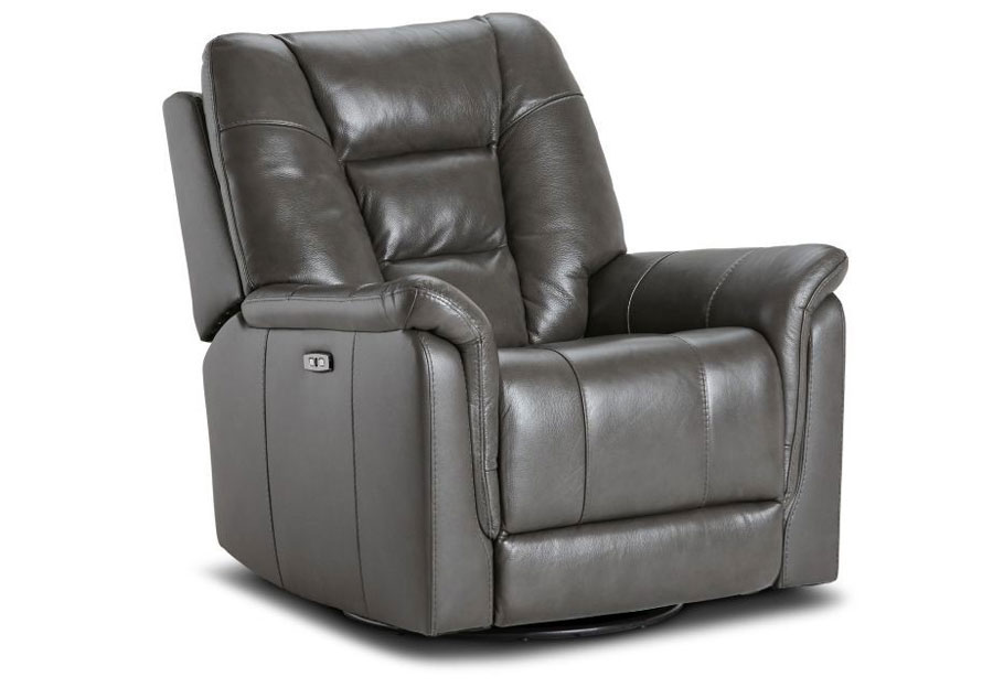Kuka Axel Charcoal Dual Power Recliner With Swivel Glider Leather Match