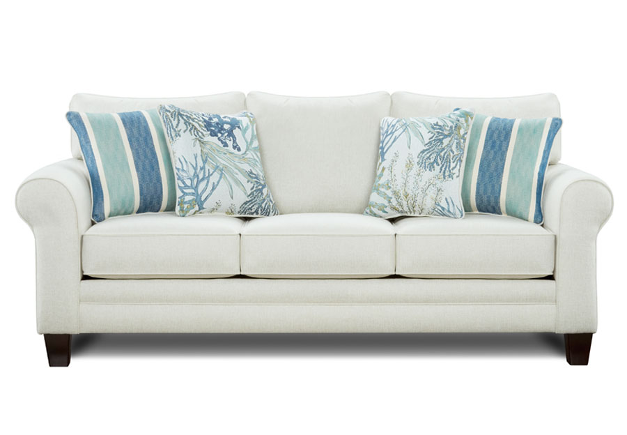 Fusion Grande Glacier Sofa with Coral Reef Oceanside and Lifes Beach Accent Pillows