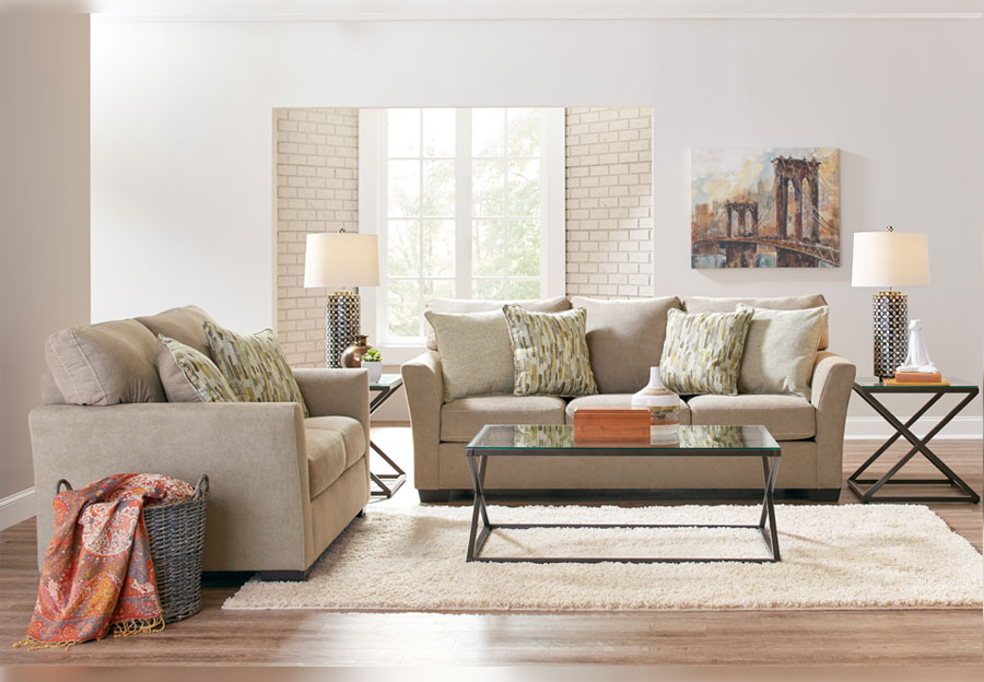 Simmons Upholstery Pacific Mocha Sofa and Loveseat With Highway Citrine and Cruze Coconut Pillows