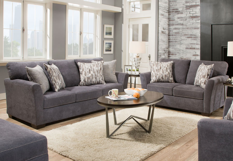 Simmons Upholstery Pacific Mocha Sofa Sleeper and Loveseat With Highway Citrine and Cruze Coconut Pillows