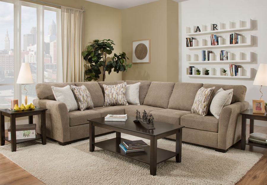 Simmons Upholstery Pacific Mocha Two Piece Sectional With Highway Citrine and Cruze Coconut Pillows