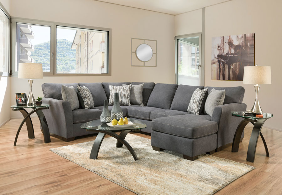 Simmons Upholstery Pacific Steel Blue Two Piece Chaise Sectional With Highway Driftwood and Cruze Driftwood Pillows