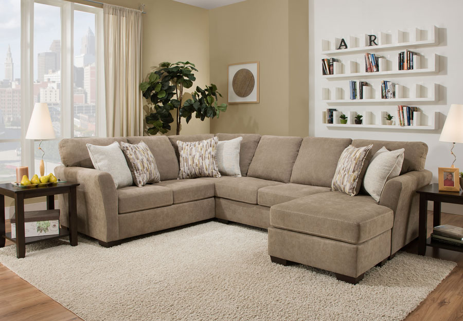 Simmons Upholstery Pacific Mocha Two Piece Chaise Sectional With Highway Citrine and Cruze Coconut Pillows