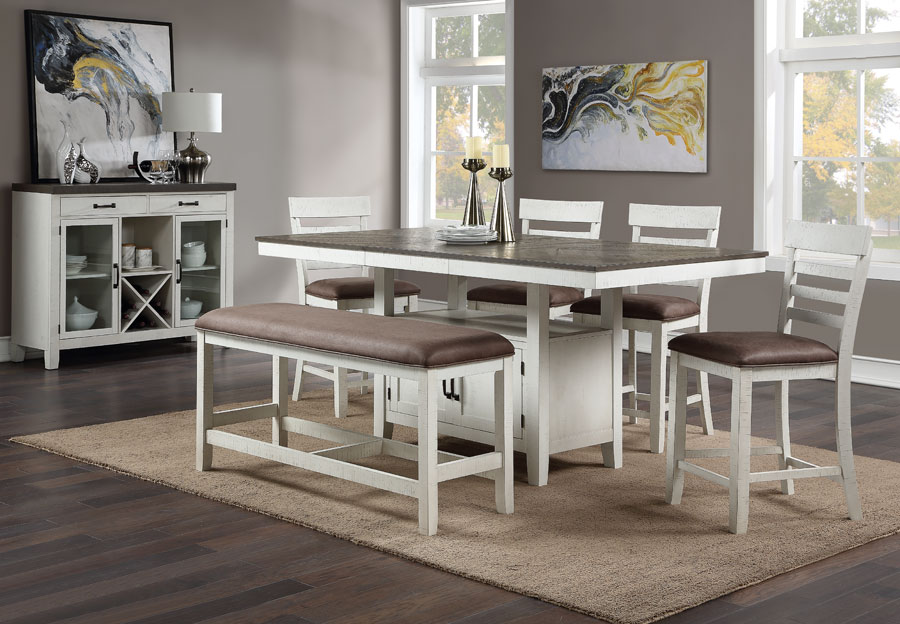 Standard Kirkland Counter Height Table with Bench and Two Chairs