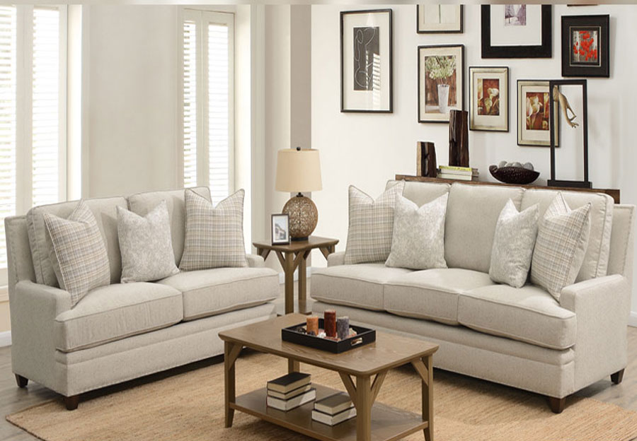 Aria Blake Sofa and Loveseat With Sara Sterling and Key West Winter Accent Pillows