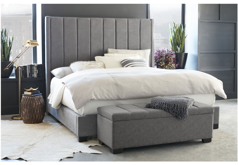 QUEEN GREY UPHOLSTERED BED CYDNEY