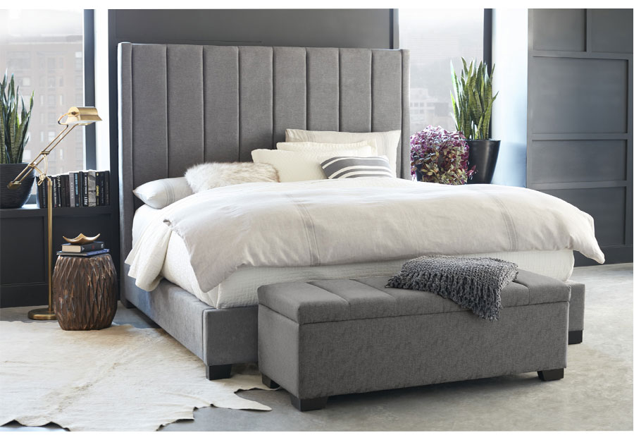 Standard Grey Cydney King Upholstered Headboard, Footboard and Siderails