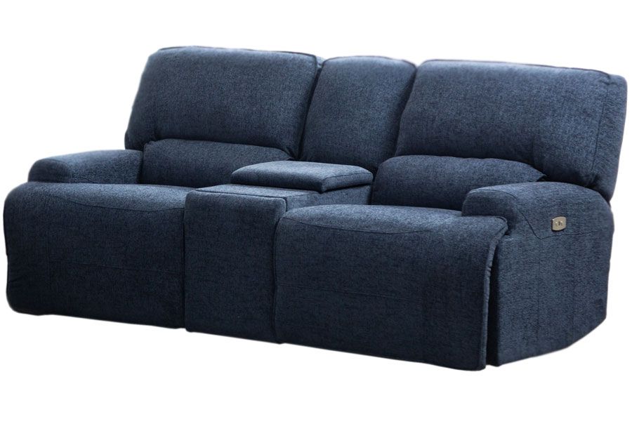 Lifestyles Galaxy Denim Manual Reclining Loveseat With Console