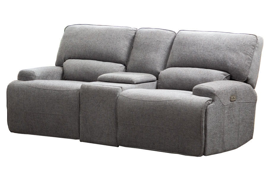 Lifestyles Galaxy Storm Gray Power Reclining Loveseat With Console