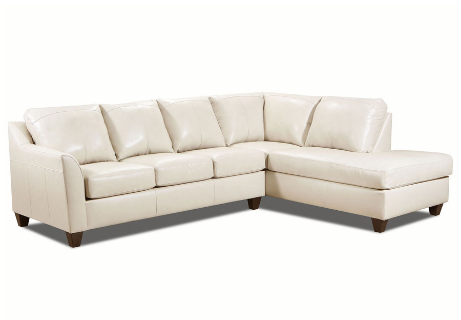 Lane Avery Cream Leather Match Two Piece Sectional