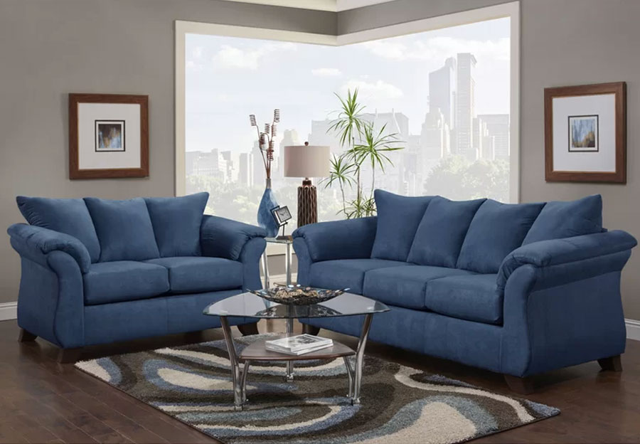 Affordable Furniture Sensations Colbalt Microfiber Queen Sleeper Sofa and Loveseat