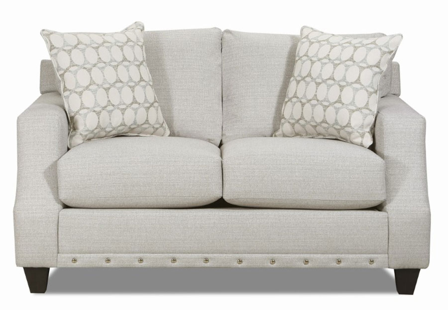 Lane Garrett Birch Loveseat with Piper Lagoon Accent Pillows