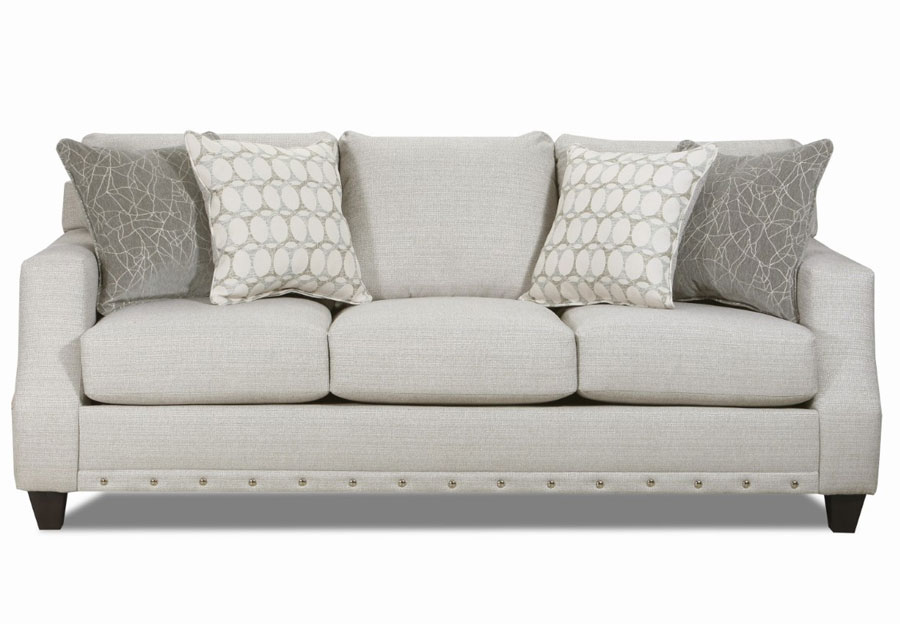 Lane Garrett Birch Queen Sleeper Sofa with Piper Lagoon and Equinox Platinum Accent Pillows
