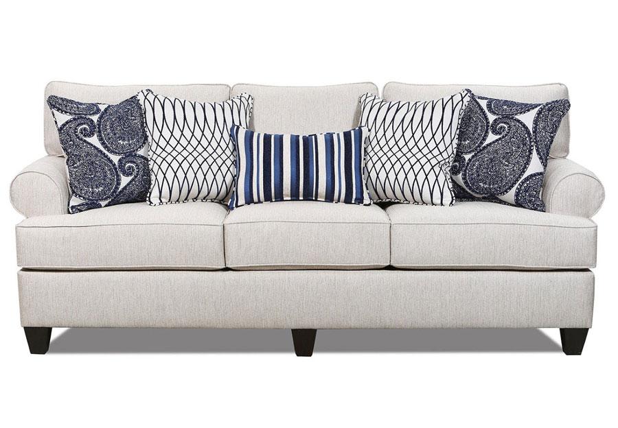 Lane Maggie Linen Sofa with Francesca Indigo and Divine Indigo Accents Pillow