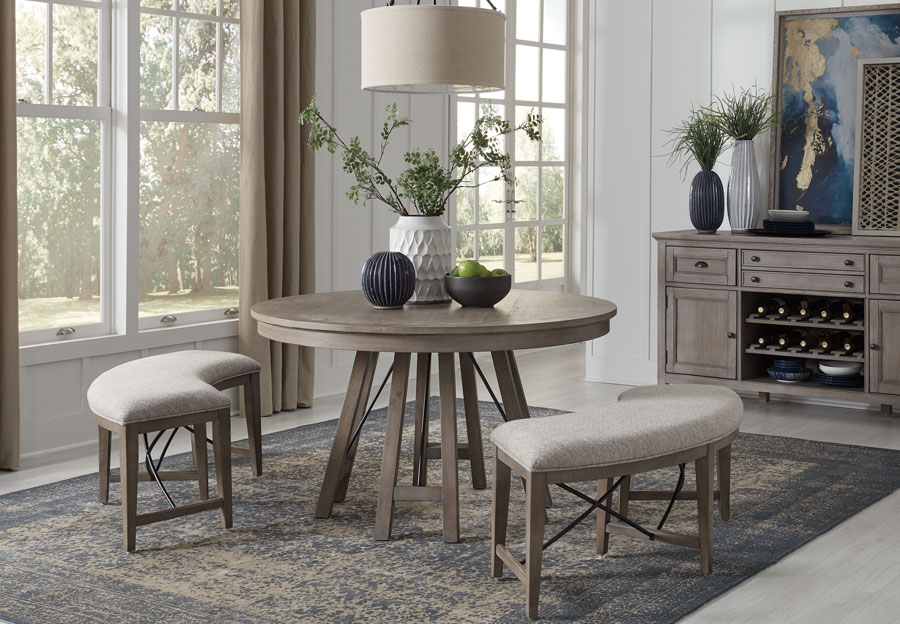 Magnussen Paxton Place Pewter Round Dining Table And Two Benches