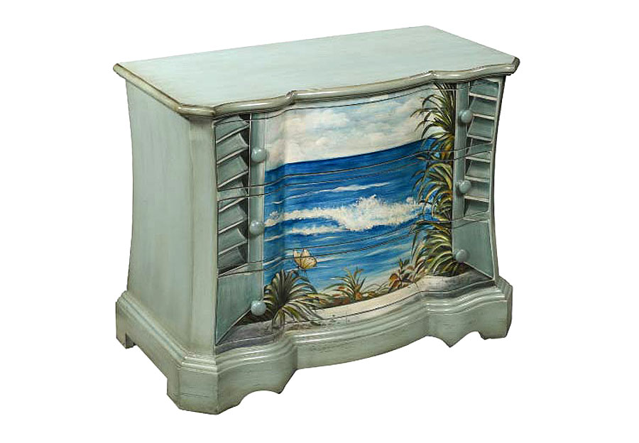 Coast to Coast Sea Blue Bombay Three Drawer Chest with Beach Scene
