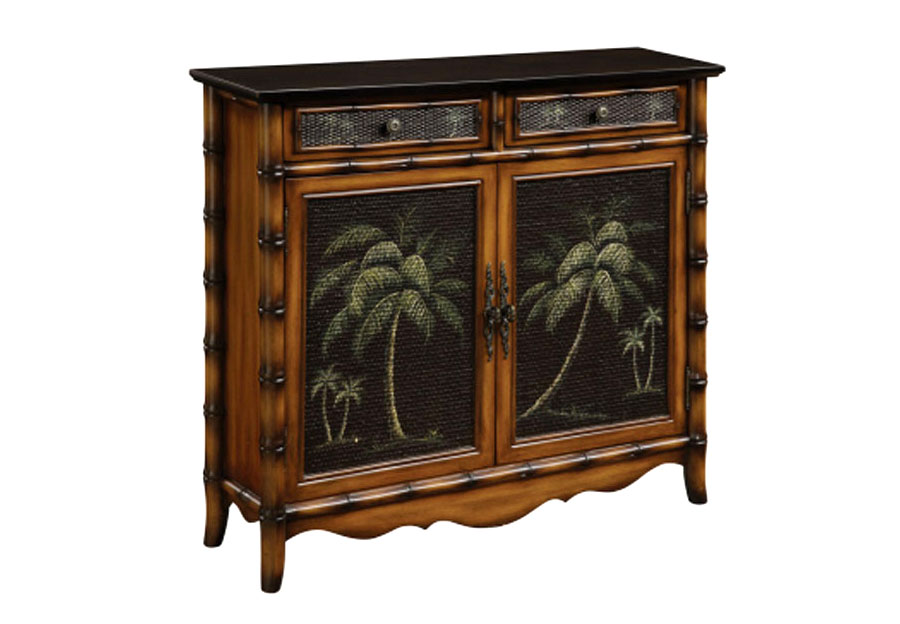 Coast to Coast Kadavu Brown Rattan Two Drawer Two Door Cupboard