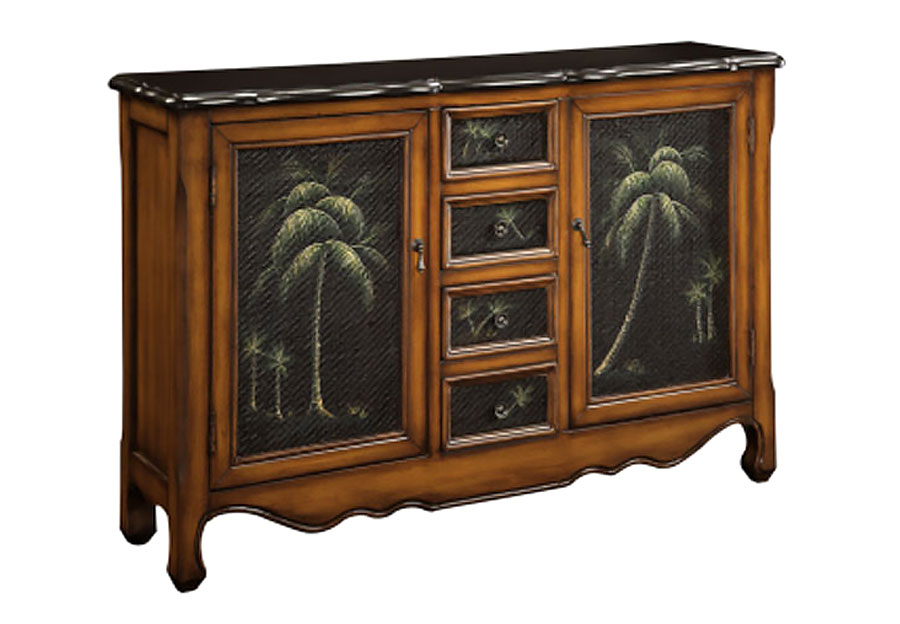 Coast to Coast Palmview Brown Rattan Four Drawer Two Door Cupboard