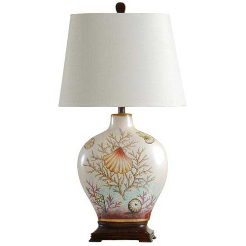 StyleCraft Coral and Sea Shells White Table Lamp
