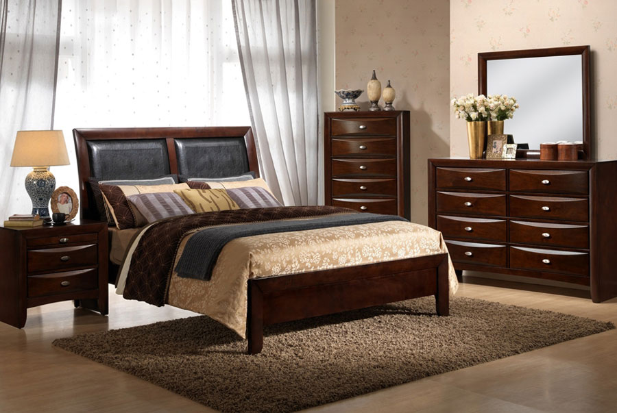 Elements Emily Merlot Queen Headboard, Footboard, Rails, Dresser, and Mirror