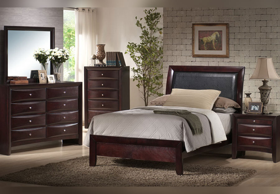 Elements Emily Merlot Twin Headboard, Footboard, Rails, Dresser, and Mirror