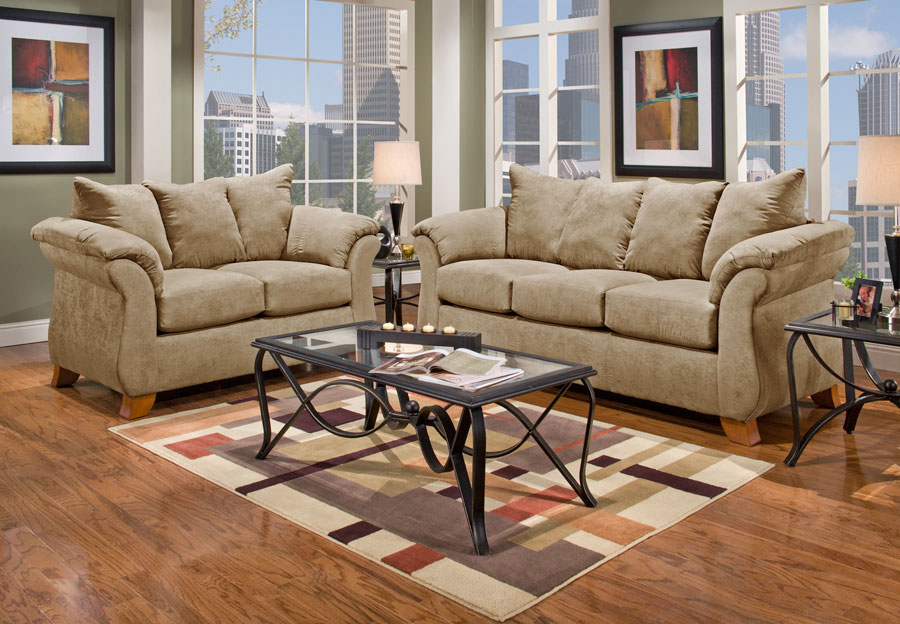 Affordable Furniture Sensation Camel Sofa and Loveseat