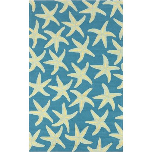 Surya Rain Starfish Peacock Blue Rug - 5 x 8 Indoor/Outdoor