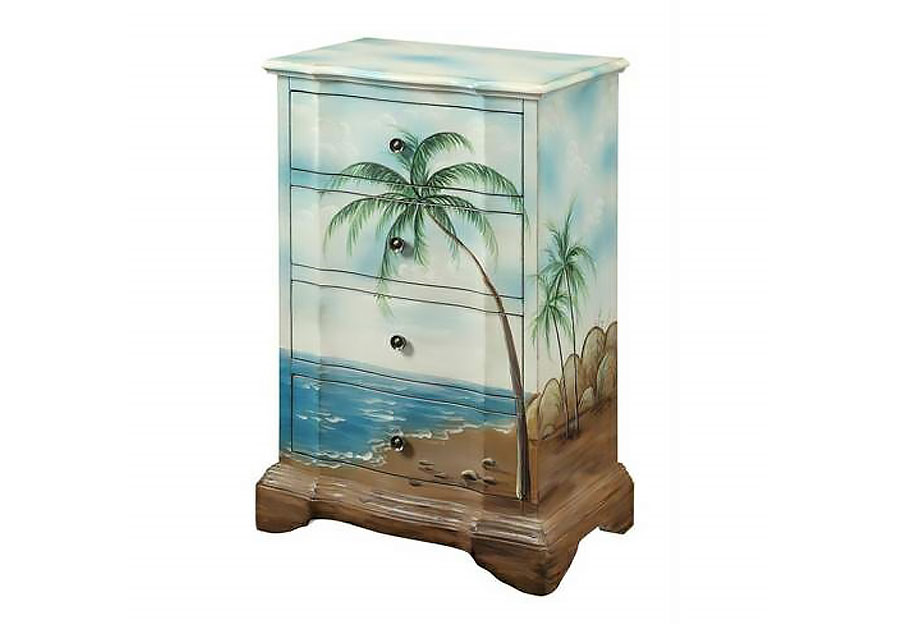Coast to Coast Beach Scene Palm Four Drawer Chest
