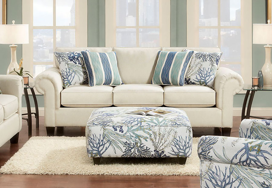 Fusion Sofa in Keynote Linen With Coral Reef and Lifes a Beach Accent Pillows